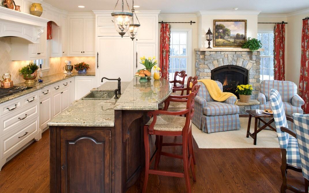 кухня на даче совмещенная с гостиной