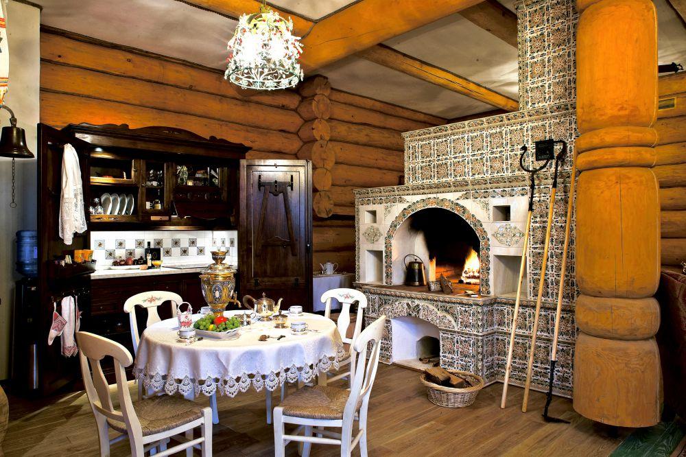 кухня на даче с русской печью
