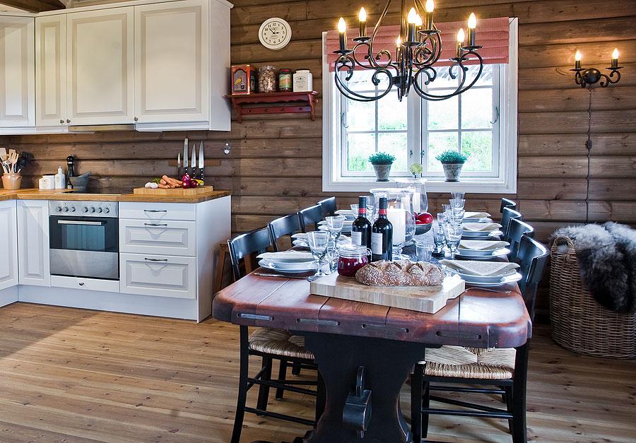 скандинавский стиль для кухни в деревянном доме