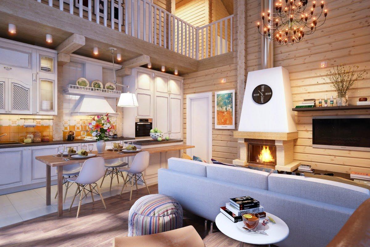 Кухня совмещенная с гостиной в деревянном доме