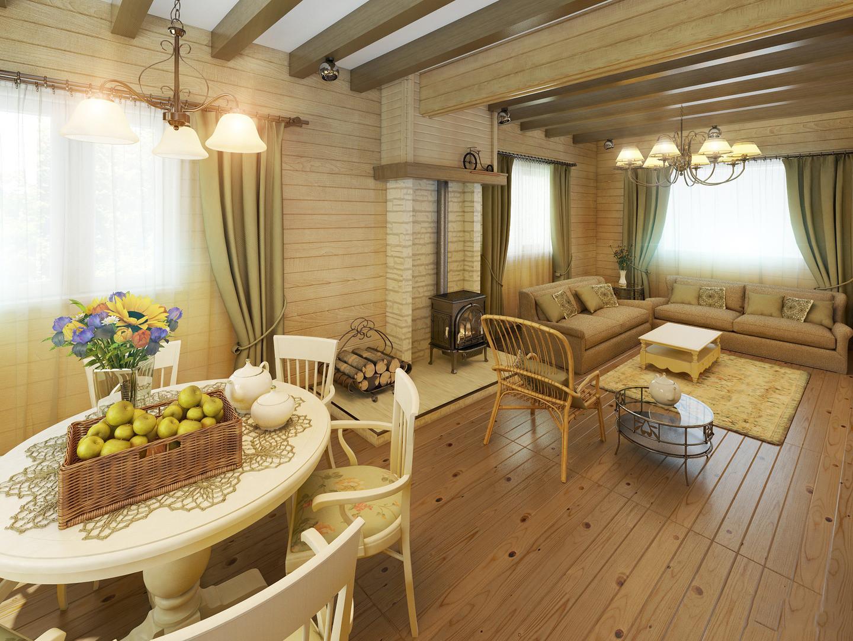 обьединенная кухня с гостиной в деревянном доме