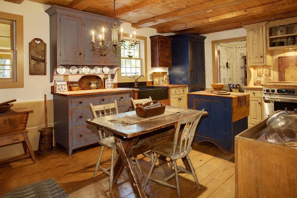 кухня в деревянном доме в ретро стиле
