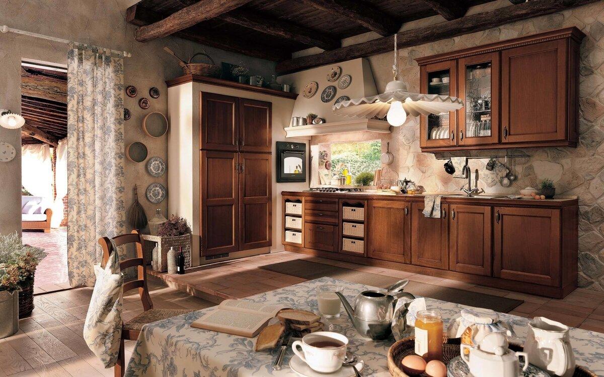 ретро-кухня в деревянном доме