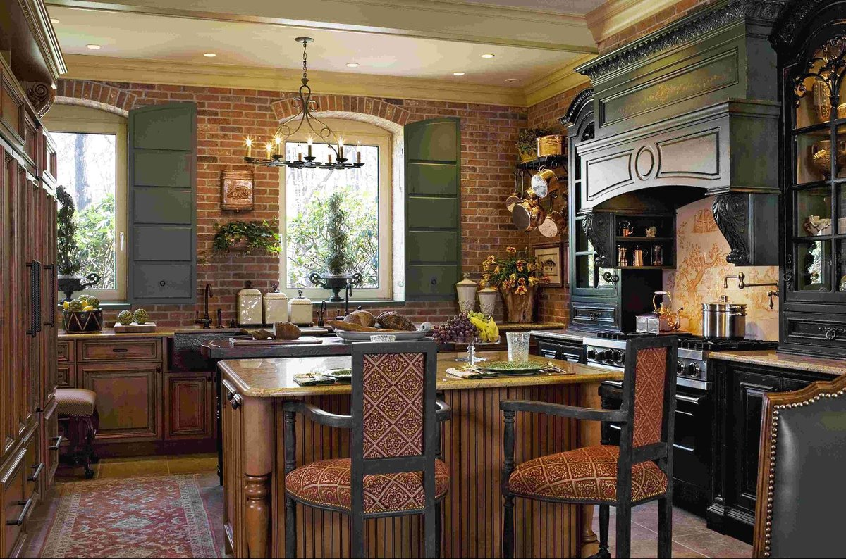 стилистика ретро для кухни в деревянном доме