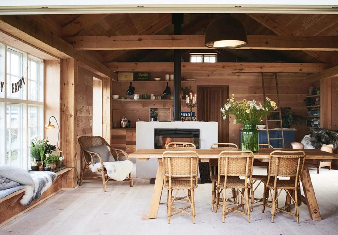 стиль эко кухни в деревянном доме