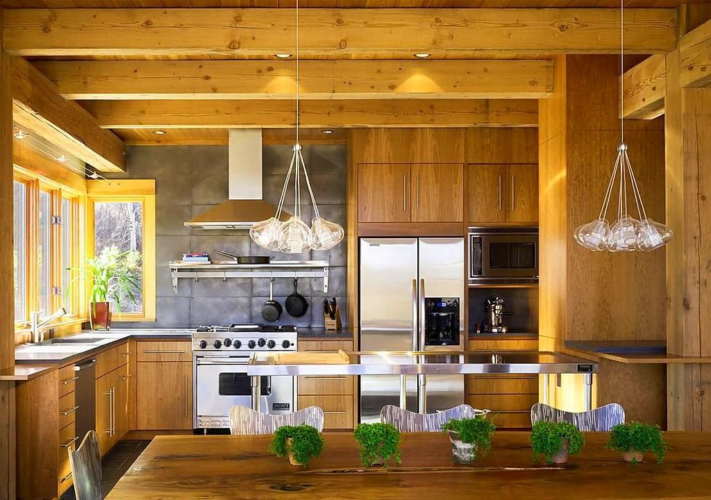 эко-кухня в деревянном доме