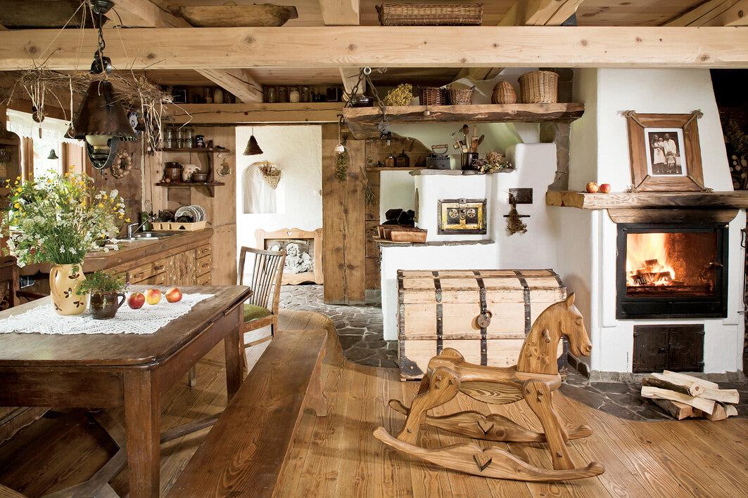кухня в деревянном доме в стиле русский терем