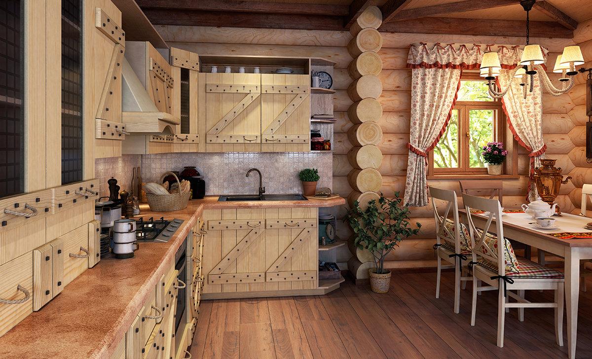 русский стиль кухни в деревянном доме