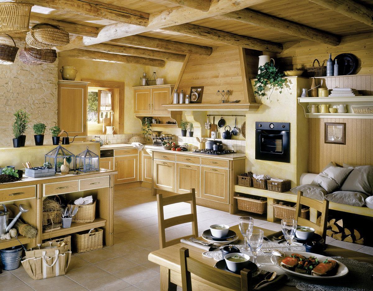 стиль кантри для кухни в деревянном доме