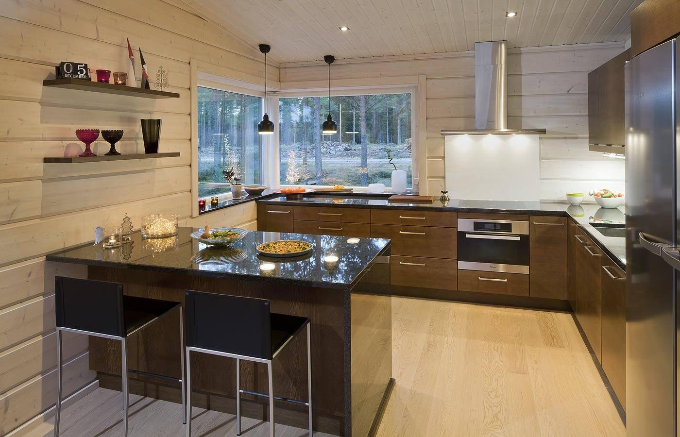 вид стен softline для кухни в деревянном доме