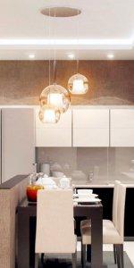 кухня-студия с осветительными приборами