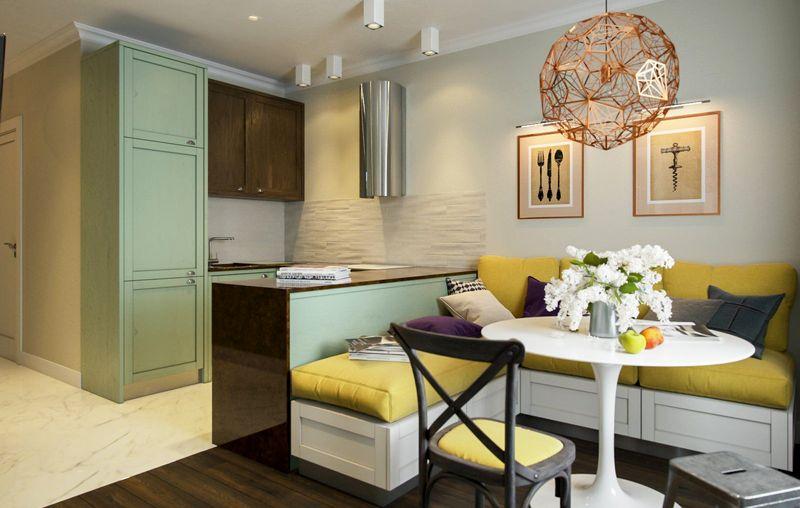 гостиная вместе с кухней-студией 10 кв. м