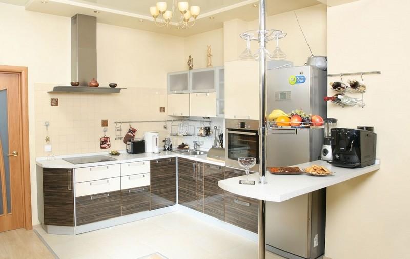 красивая угловая кухня-студия