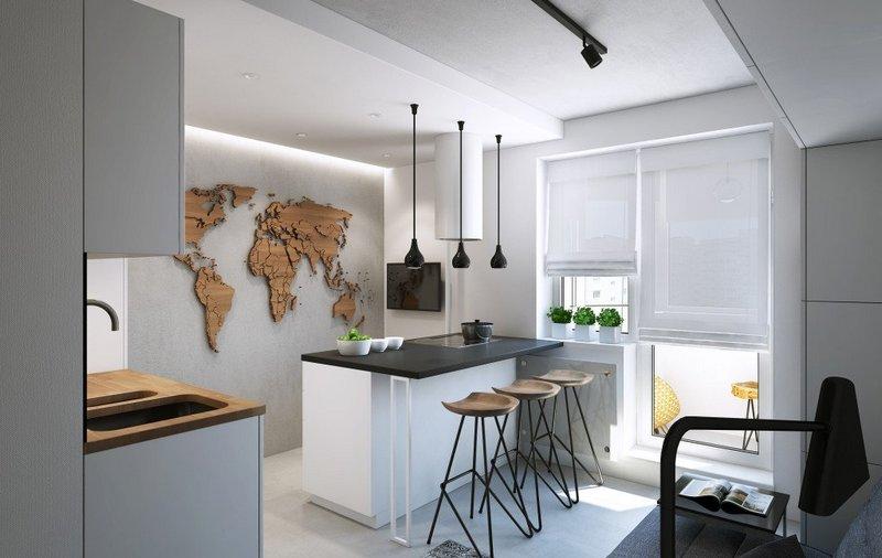 кухня-студия с красивым островком