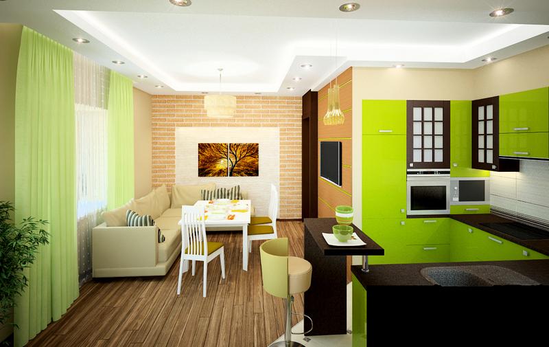 Дизайн кухни-студии фото 1