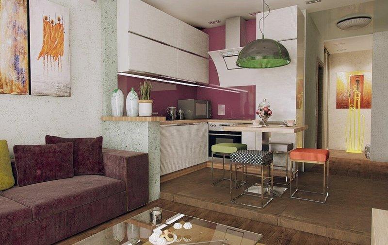 подиум на кухне-студии