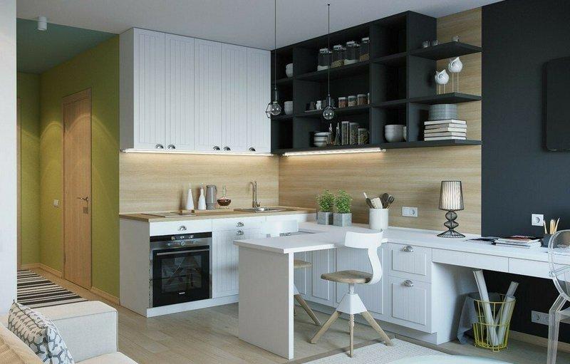 кухня-студия углового типа