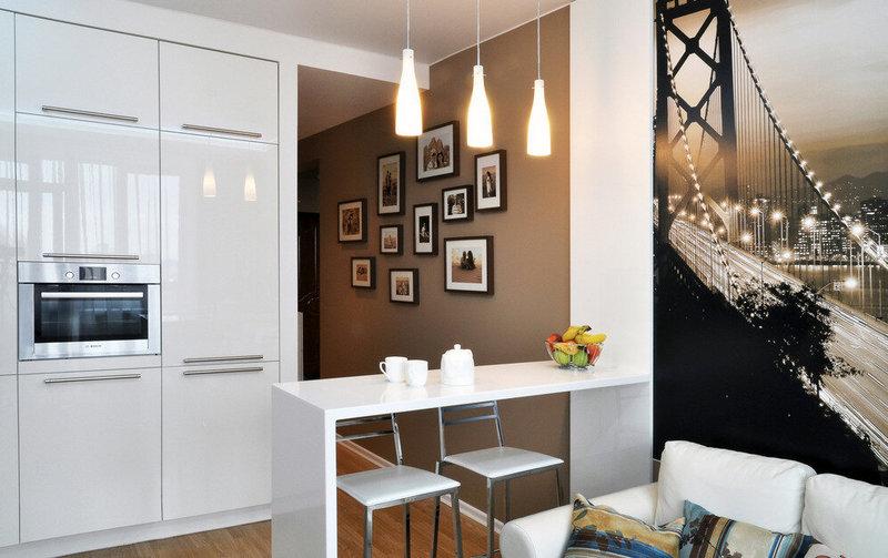 гостиная и кухня-студия вместе