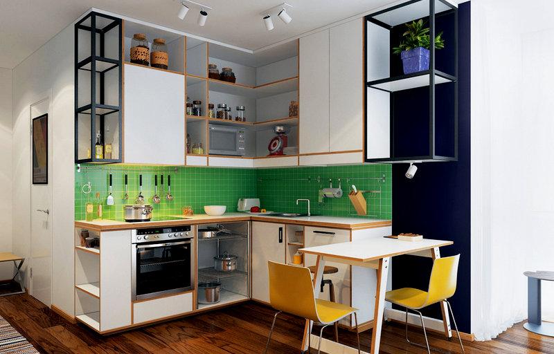 кухня-студия небольшого размера