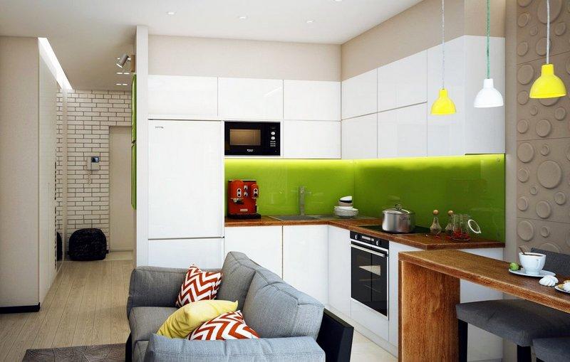 гостиная совмещенная с кухней-студией