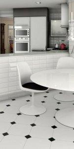 керамогранит на полу на кухне
