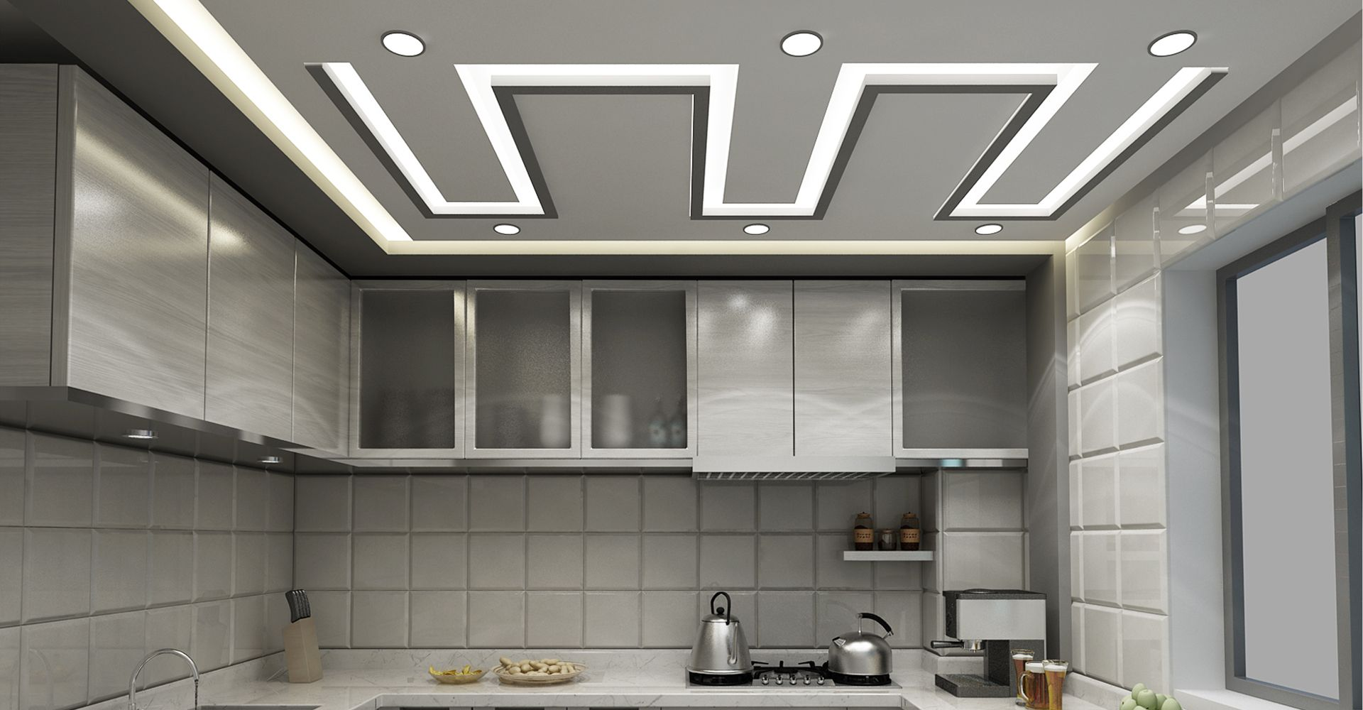 фигурный потолок кухня
