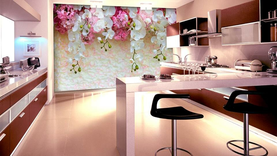 фотообои цветы в цвет кухни