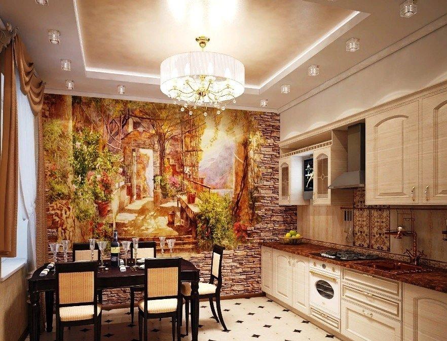 фотообои на стене кухни