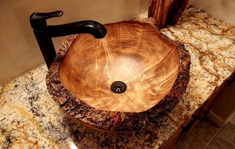 угловая мойка из дерева