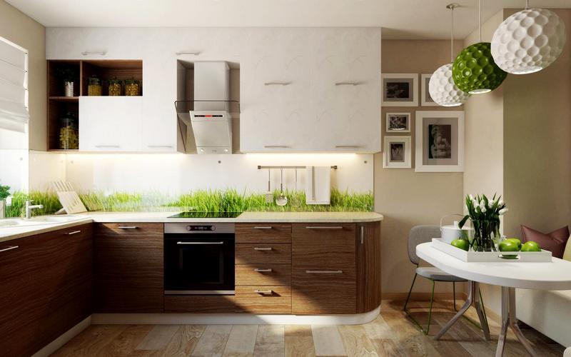 эко-кухня с белым фартуком