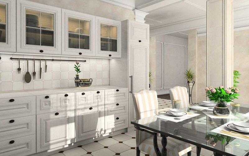 классическая кухня с белым фартуком