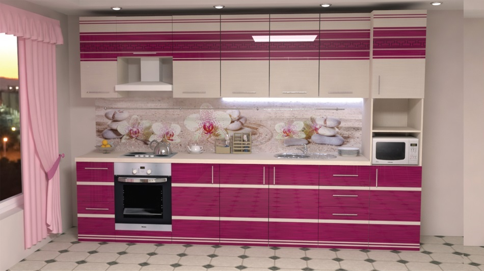 розовый пластиковый фартук на кухне