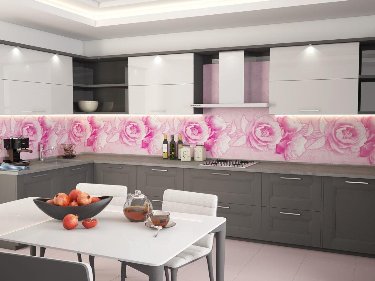 розовый фартук для кухни из акрилового стекла