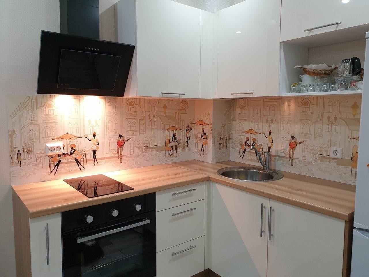 пластиковый фартук для кухни с рисунком