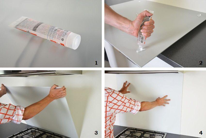 монтаж пластикового фартука на клей