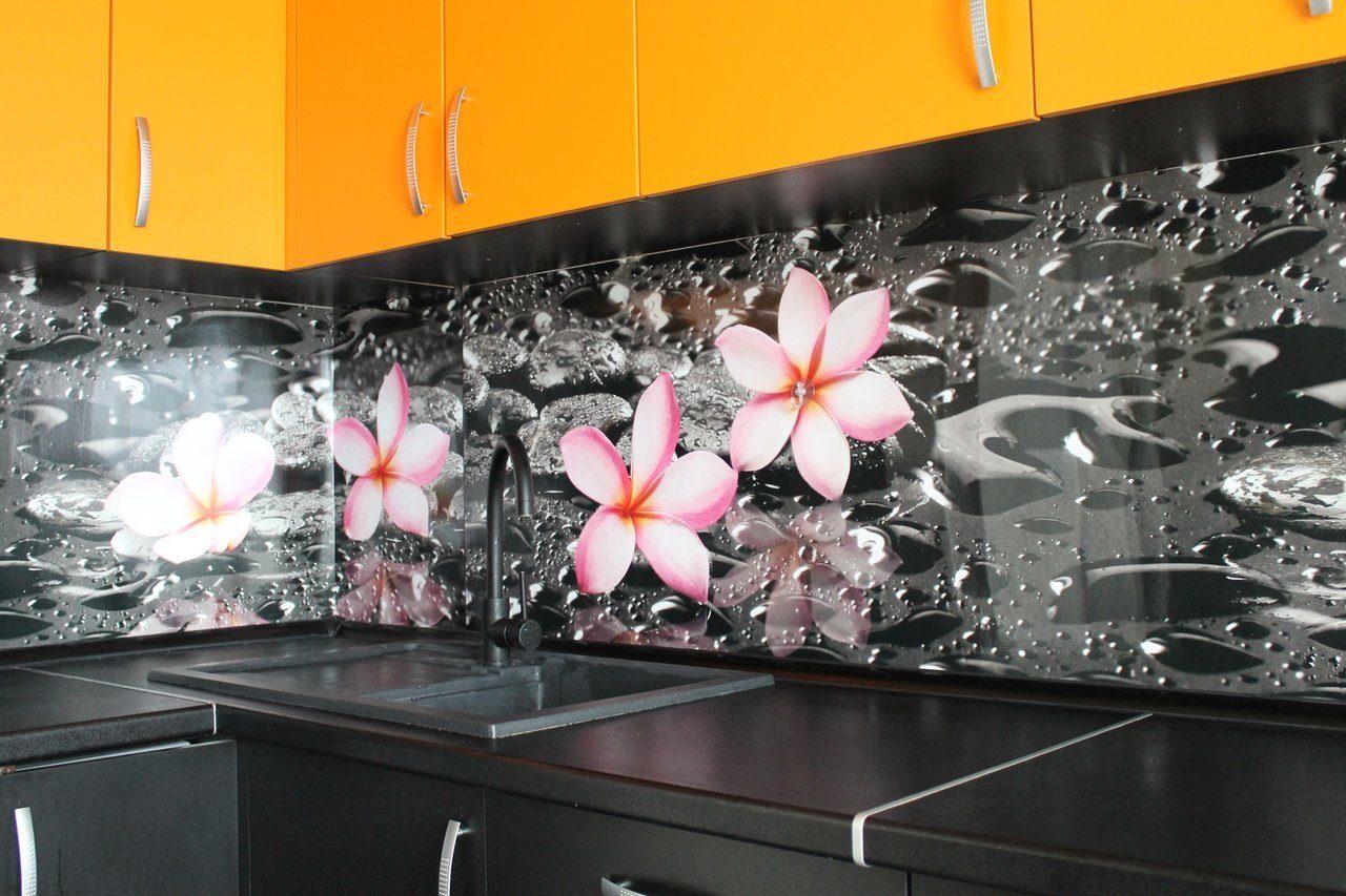 пластиковый фартук для кухни с цветами