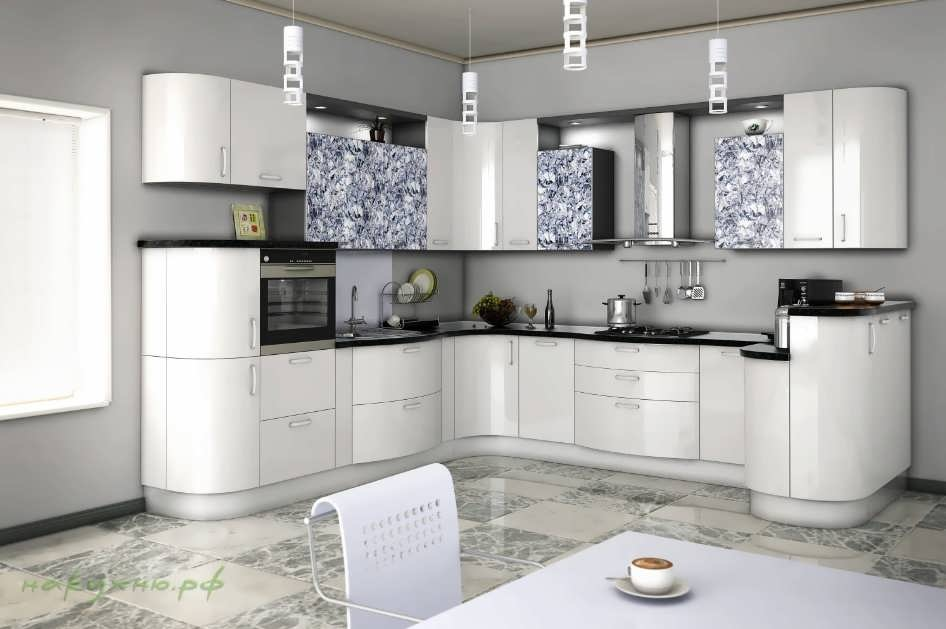 белая угловая кухня мария