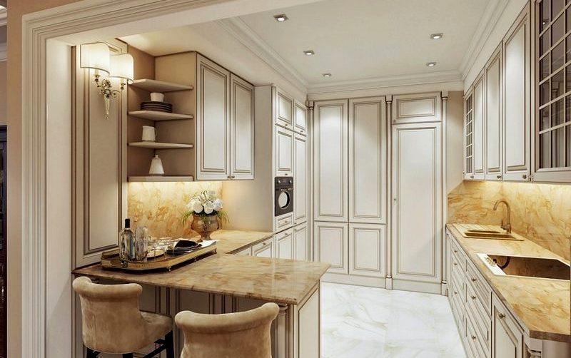 кухня в классическом стиле со стойкой
