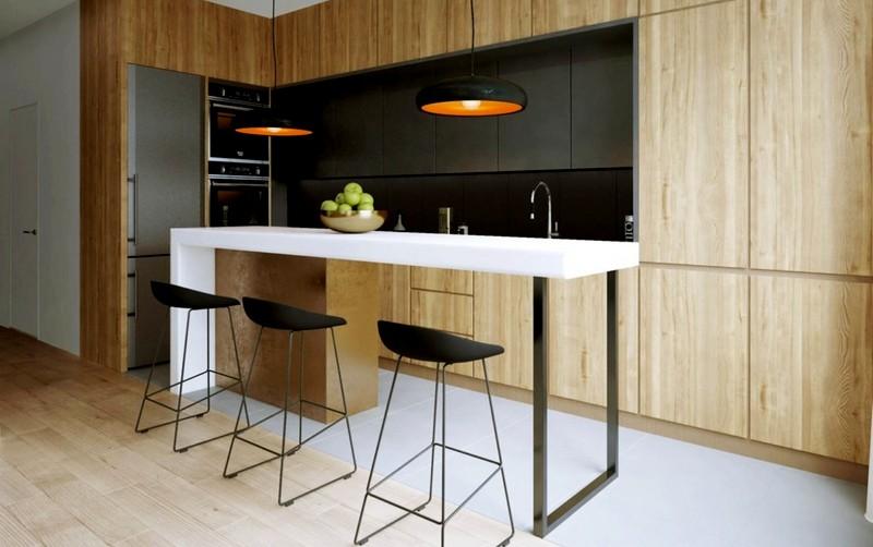 кухня со стойкой в стиле минимализм