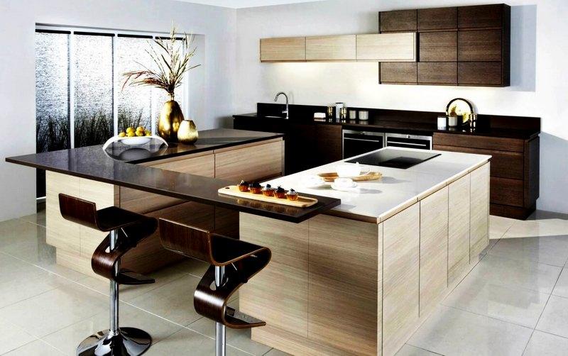 кухня в стиле хай-тек со стойкой