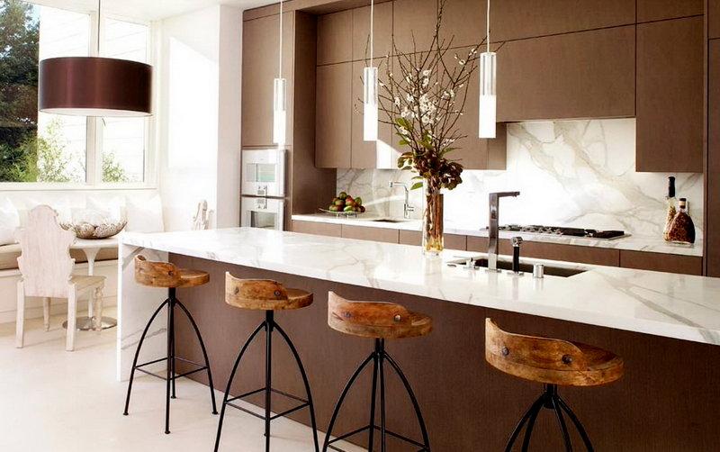 кухня со стойкой в стиле модерн
