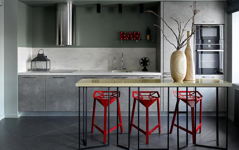 минималистичная кухня с барной стойкой