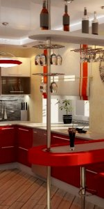 красная кухня с барной стойкой