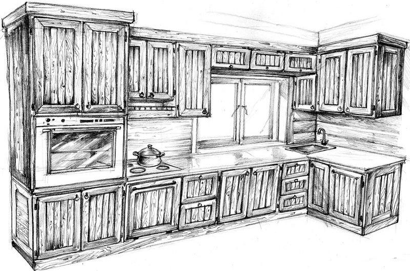 схема кухни из дерева под старину