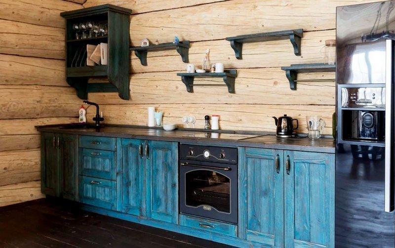 кухня под старину в синих оттенках