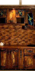 красивая состаренная мебель для кухни под старину