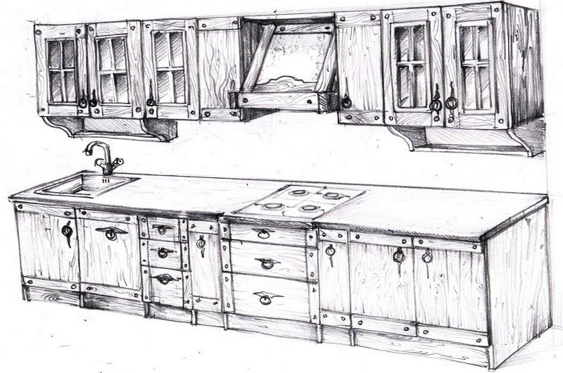 схема деревянной кухни под старину