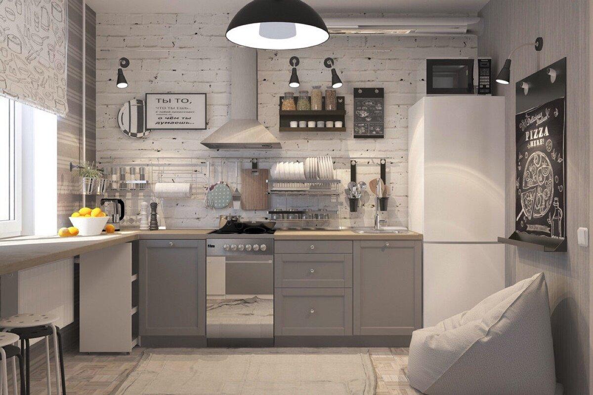серая кухня без верхних шкафов