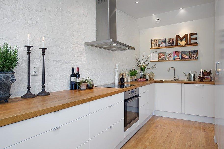 сканди кухня без верхних шкафов