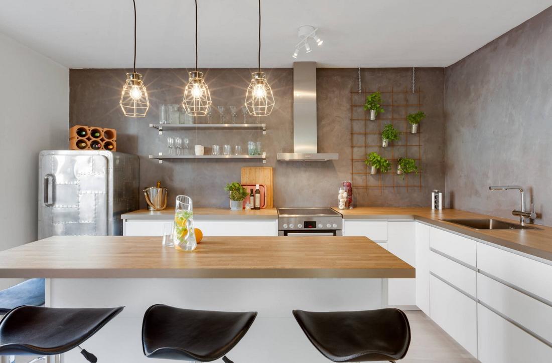 сттильная кухня без верхних полок